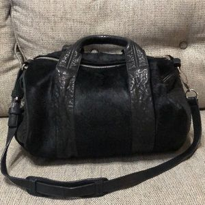 Alexander Wang black pony fur leather rocco bag